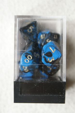 APF DICE-SET-13D (D4, D6, D8, D10, D10/00, D12 & D20) Oblivion Poly Dice Set Blue